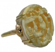 9ct Gold Carved Chinese Ivory Ring. Click for more information...