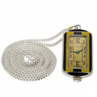 ART Deco Swiss .935 Silver Enameled Ardent Dore Pendant Watch. Click for more information...