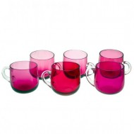 Set of 6 Victorian Ruby Glass Custard Cups. Click for more information...