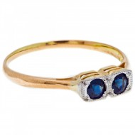 18ct Gold  and Platinum 2 Blue Australian Sapphires. Click for more information...