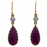 18ct GOLD Ruby, Diamond and Platinum Earrings. Click for more information...