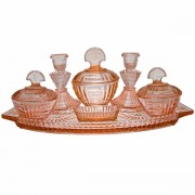 7 Piece Pink Depression Glass Dressing Table Set. Click for more information...