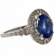 18ct White Gold Sapphire and Diamond Ring. Click for more information...