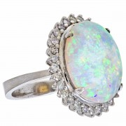 18ct White Gold Opal and Diamond Ring. Click for more information...