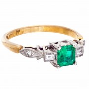 18ct Gold Platinum, Emerald and 4 Diamond Ring. Click for more information...