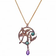 15ct Gold Suffragette Tourmaline Amethyst & Pearl. Pendant Brooch. Click for more information...
