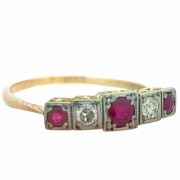 18ct Gold 3 Ruby 2 Diamond Ring. Click for more information...