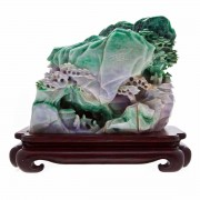 Nephrite Jade (Dyed) Carved Mountain. Chinese.. Click for more information...