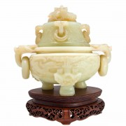 Serpentine (Chinese Jade) Incense Burner.. Click for more information...