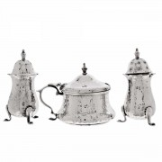 Sterling Silver 3 Piece Condiment Set Blue Glass Liner. Click for more information...