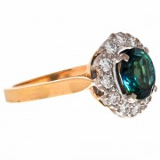 18ct Gold Blue Green Australian Parti Sapphire 12 Diamonds Ring. Click for more information...