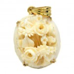 18ct GOLD Carved Chinese Ivory Pendant. Click for more information...